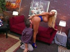 Heavy chested and amorous blonde Nikita von James enjoys in