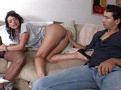 Nasty penurious pain in the neck subfuscous Franceska Jaimes with pulling face and