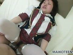 Japanese schoolgirl stuffed with a hot load