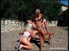 Blondes banging at hand outdoor line up video