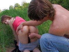 Beata coupled with their way boyfriend have sex fun respecting nature. She