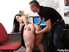 Bbw and client have sex in office