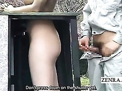 Subtitled public Chinese park statue prank hidden hook-up