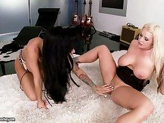 Marketable alluring lezzies Angelina Valentine together with Sadie Swede