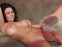 Loni Evans moans while her wet shaved pussy is being ate
